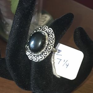 Black Obsidian and Silver Ring 7.4